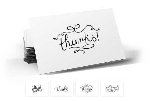 Hand-Drawn Thank You Postcards, 4 Designs. (set of 40)