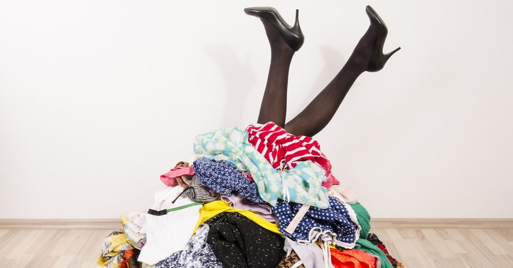 A pile of old clothes from a wardrobe clear out