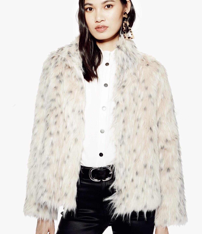 Top Shop Snow Leopard Print Coat