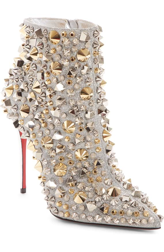 So Kate Studded Glitter Bootie front