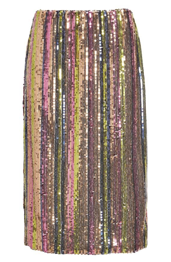 Leith Rainbow Sequin Midi Skirt