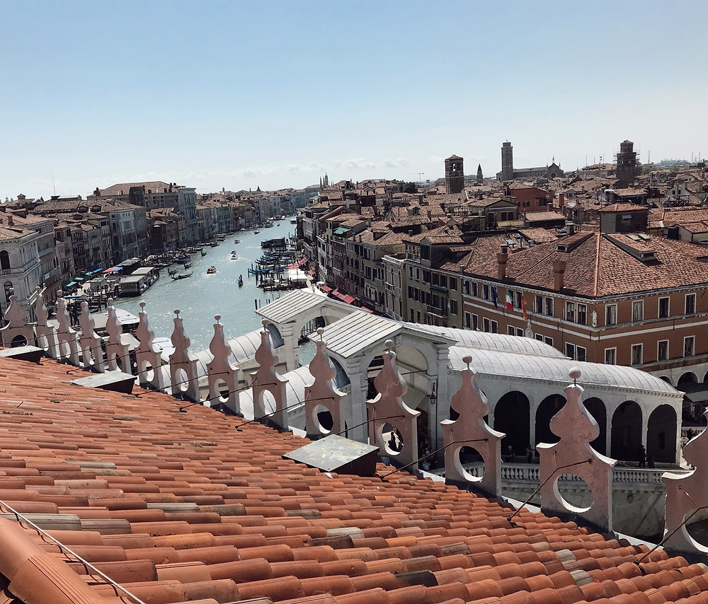 View from the rooftop terrace at the top of T Fondaco Dei Tedeschi