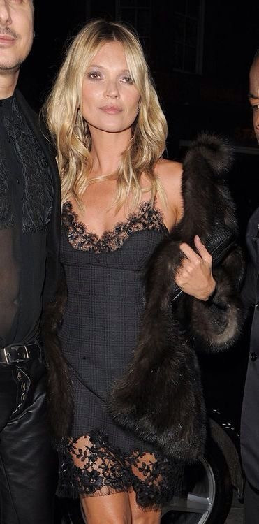 lace slip with fur and heels inspo Kate Moss