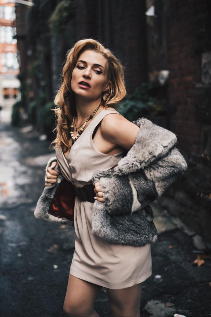 shrazzi wearing vintage coat pioneer square seattle