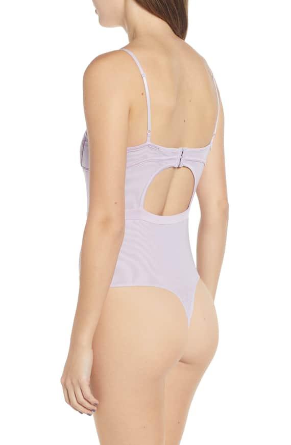 AFRM purple lace bodysuit back