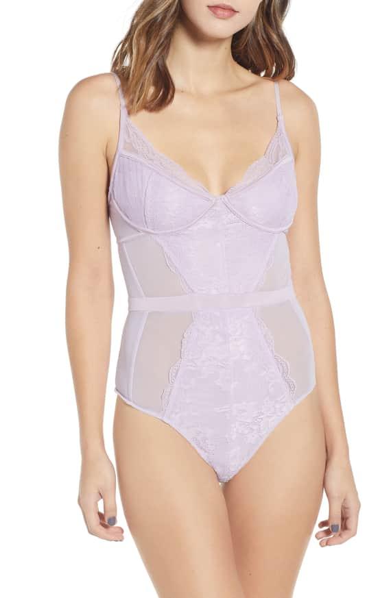 AFRM purple lace bodysuit front
