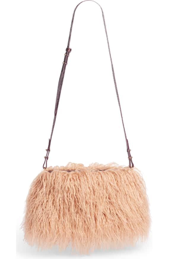 Faux Shearling Crossbody Bag