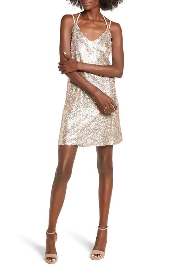 strappy sequin slip dress