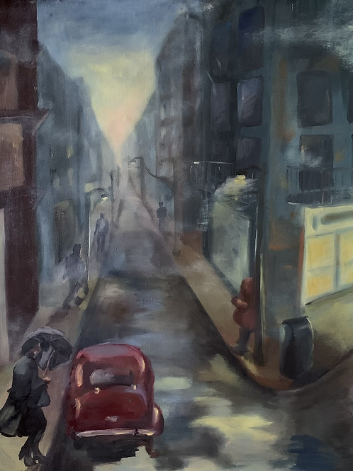 """Foggy city streets"""