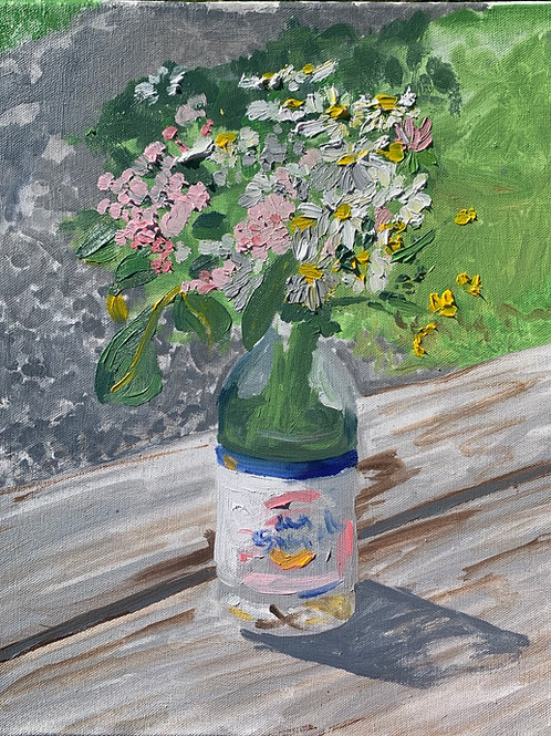 """""""Wildflower bouquet in a Snapple bottle"""""""