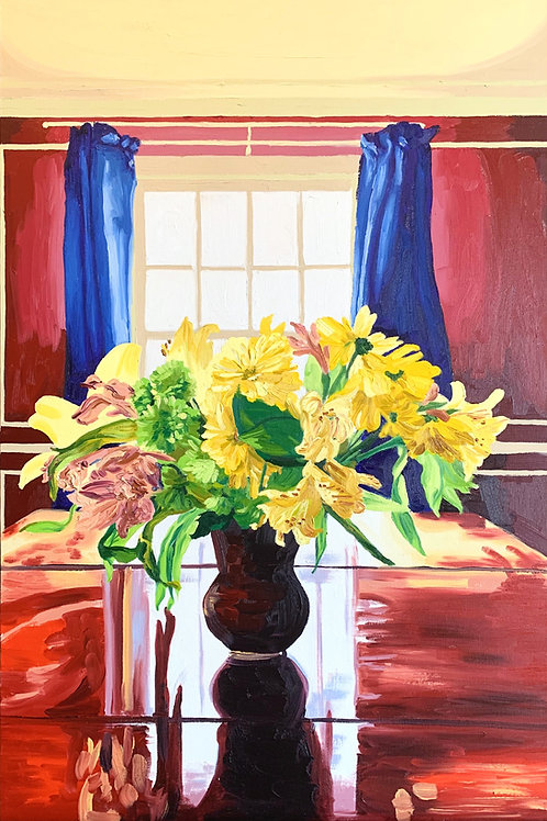 """""""Yellow Flowers, Red Walls, Blue Drapes"""""""