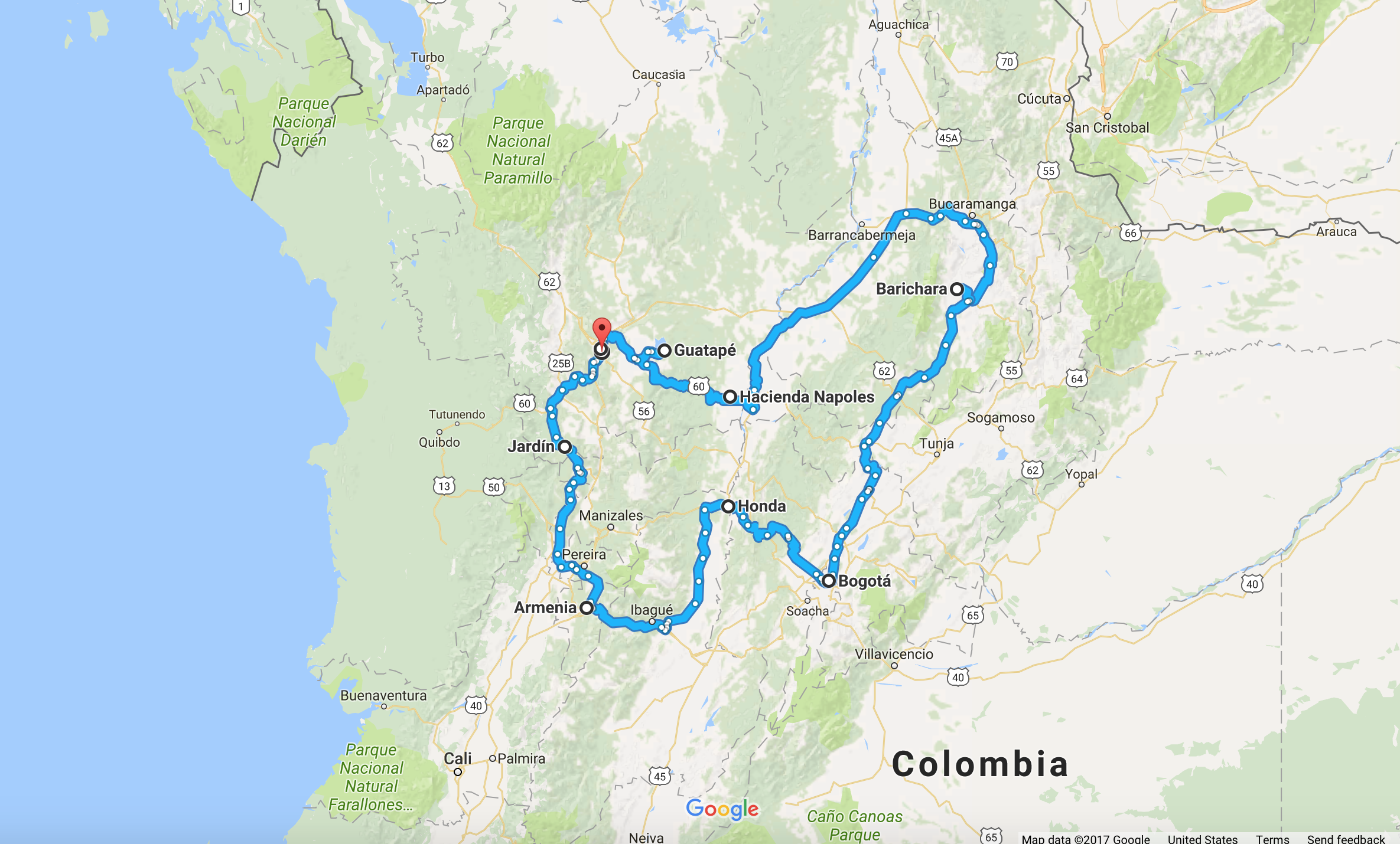 Colombia Motorcycle Tour Map
