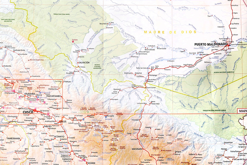 Map of Manu and Tambopata, Peru