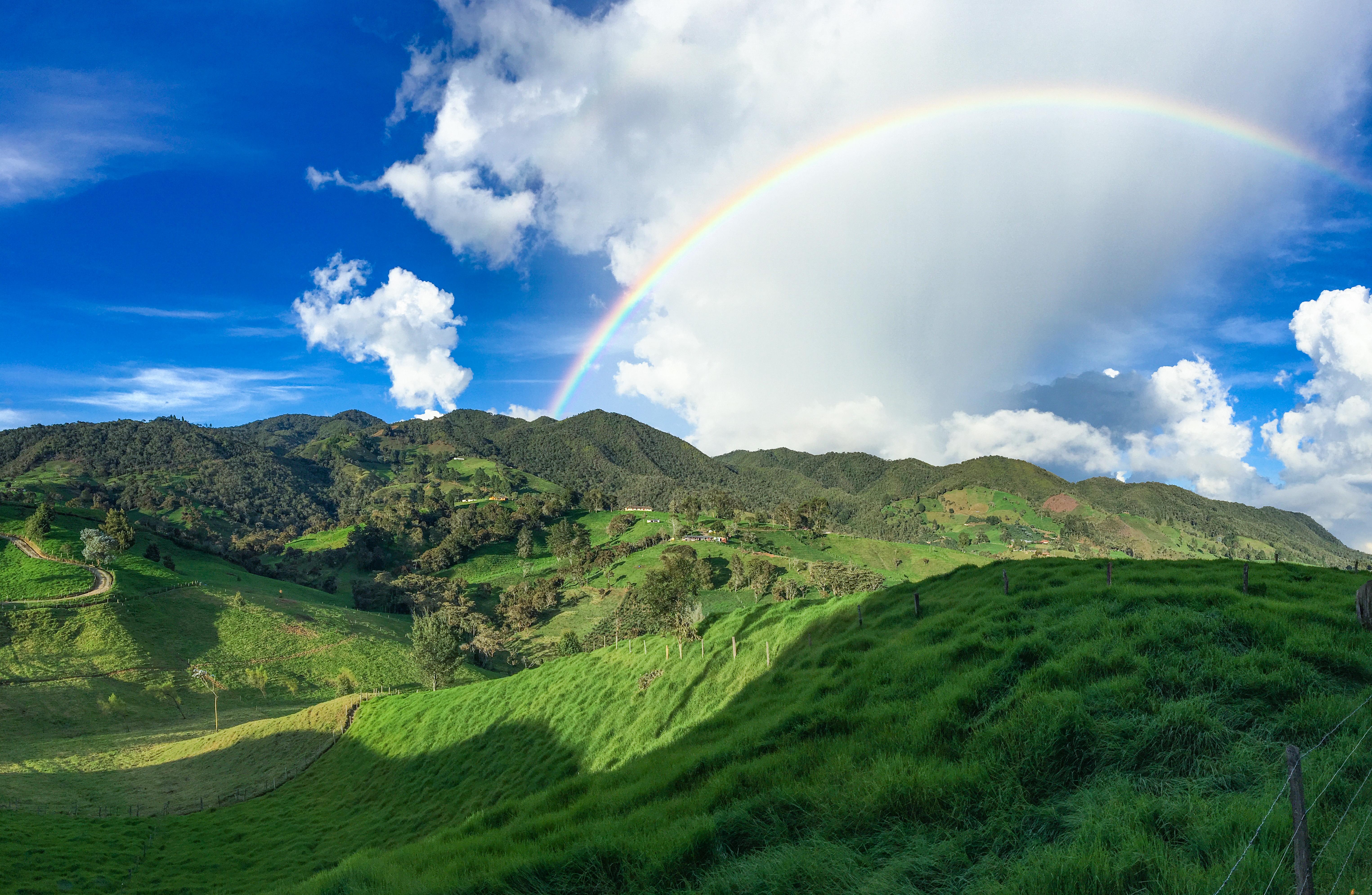 Rainbow over Colombian farmland
