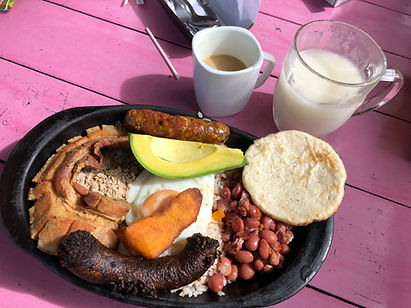 Bandeja Paisa is a typical meal in Antioquia