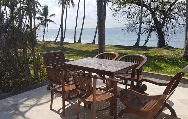 Seating area for guests at Villa Matanai