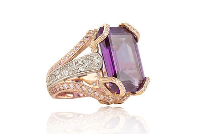 Treflers Amethyst and Diamond Ring. Ashl