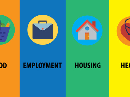Food, employment, housing, and health resources available