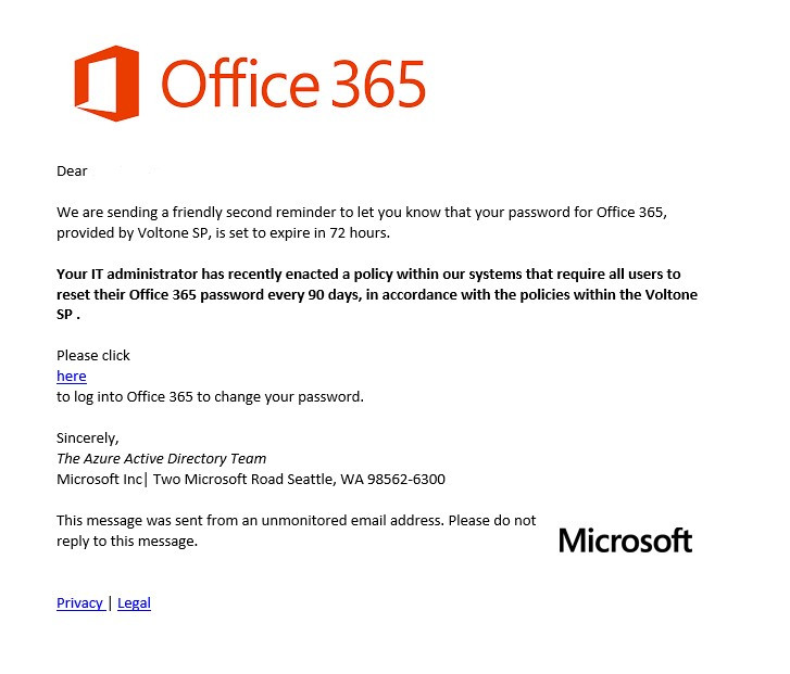 Office 365 Phishing Email request to reset password, links to external fake site