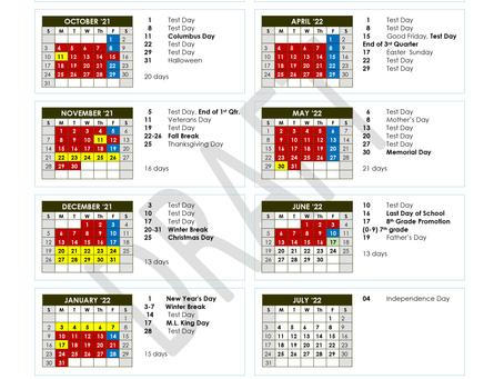 Encore Junior High Calendar 21/22 School Year