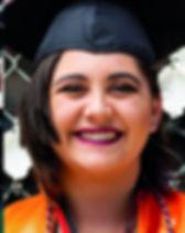 high school female graduate with short hair