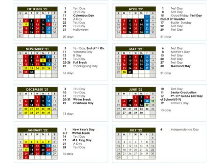21/22 School Year High School Calendar