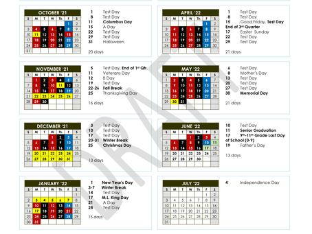 Encore High School Calendar 21/22