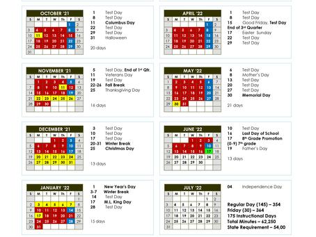 Junior High 21/22 School Calendar