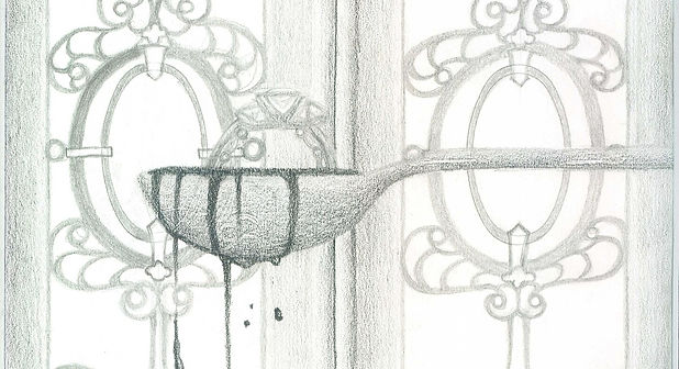 high school student pencil drawing of a spoon in front of double doors