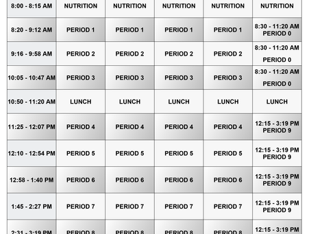 Junior High Bell Schedule Reminder One Year Later