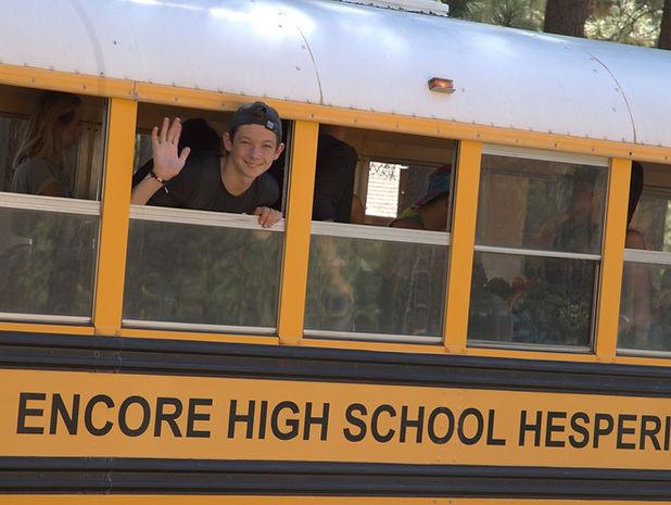 Arts high school bus for Encore High School in Lake Arrowhead for summer camp