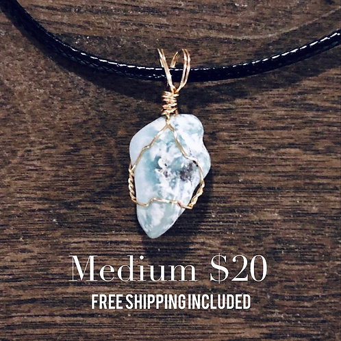 MEDIUM Wire Wrapped Raw Larimar Pendant