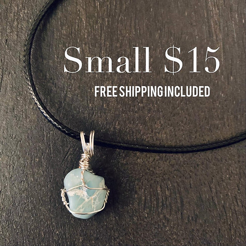 SMALL Wire Wrapped Raw Larimar Pendant