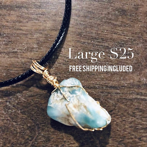 LARGE Wire Wrapped Raw Larimar Pendant