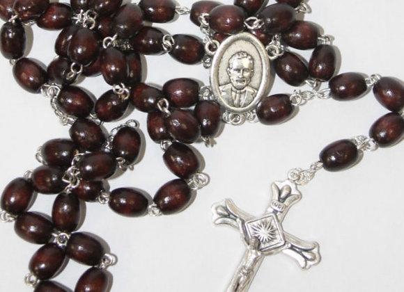 Brown Wood Bead Rosary