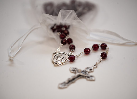 Red Crystal Bead Rosary