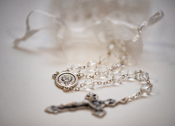 White Crystal Bead Rosary