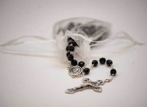 Black Crystal Bead Rosary