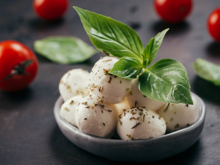 Close up view of small mozzarella cheese
