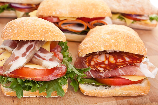 group of ciabatta bread sandwiches stuff