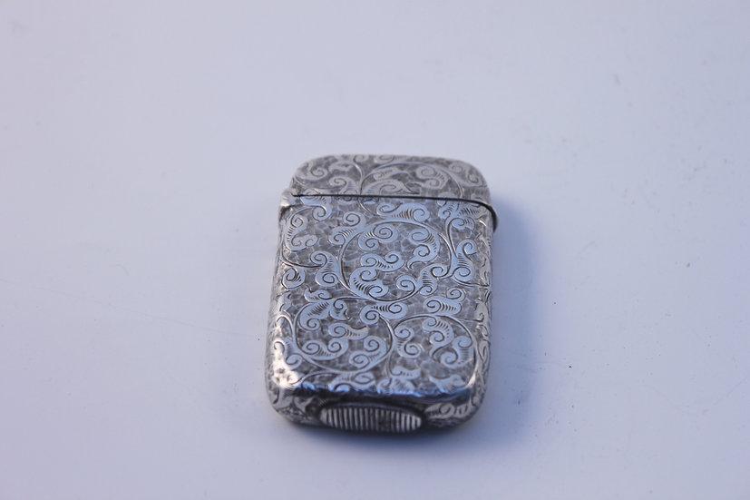A Victorian silver engraved Vesta case