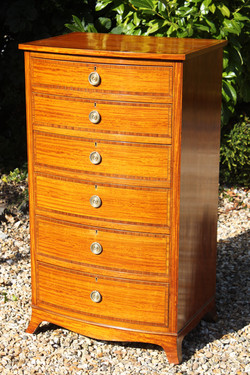 Sheraton satinwood and rosewood bow ches