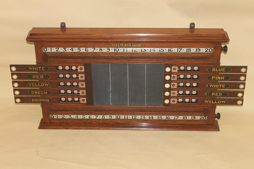 A rare mahogany billiard and Life Pool scoreboard