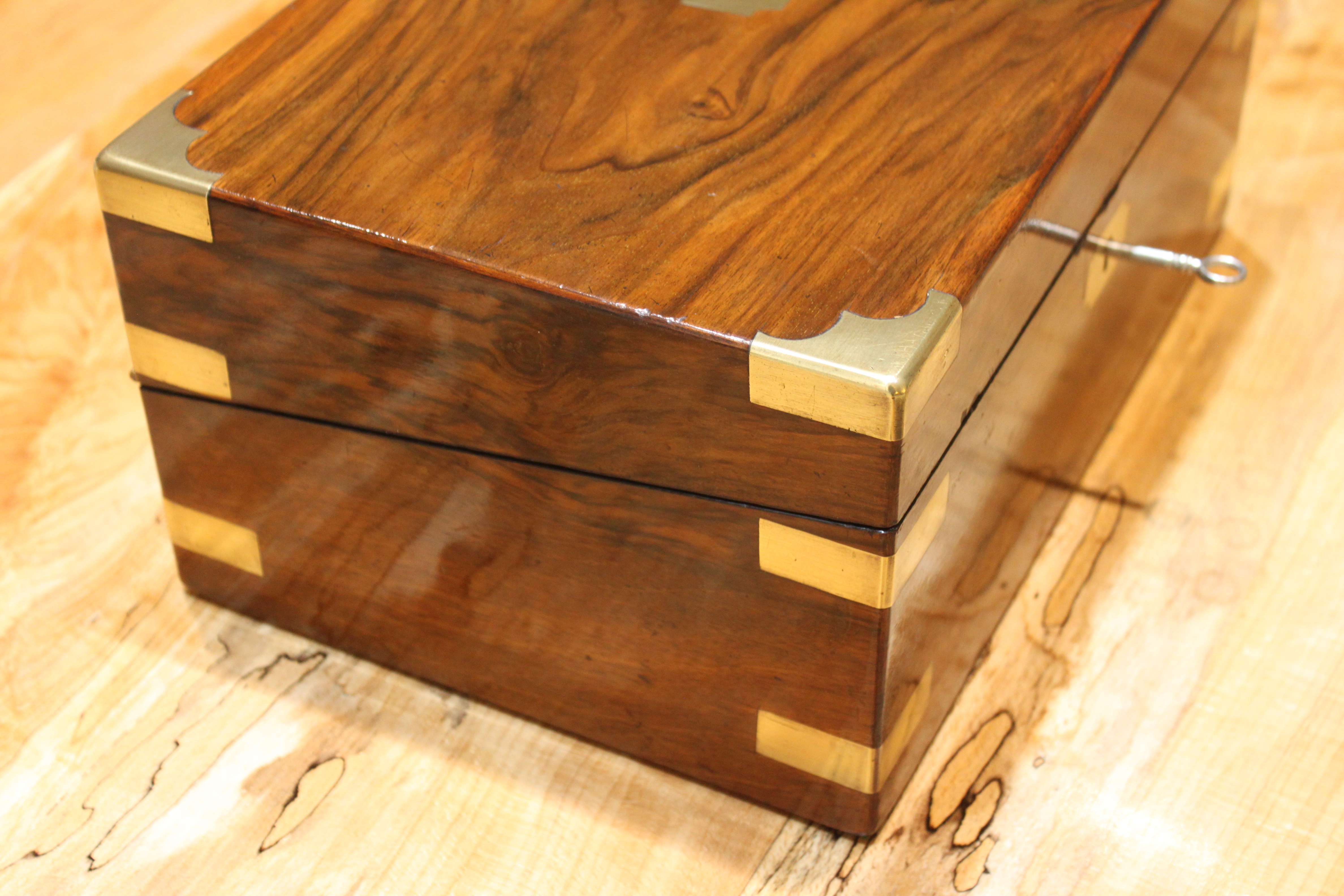 Victorian walnut writing slope with secr