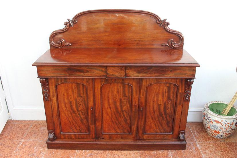A mid Victorian mahogany three door chiffonier