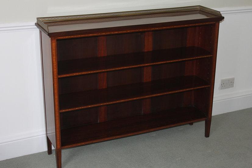 """""""Sheraton Revival"""" mahogany inlaid open bookcase"""