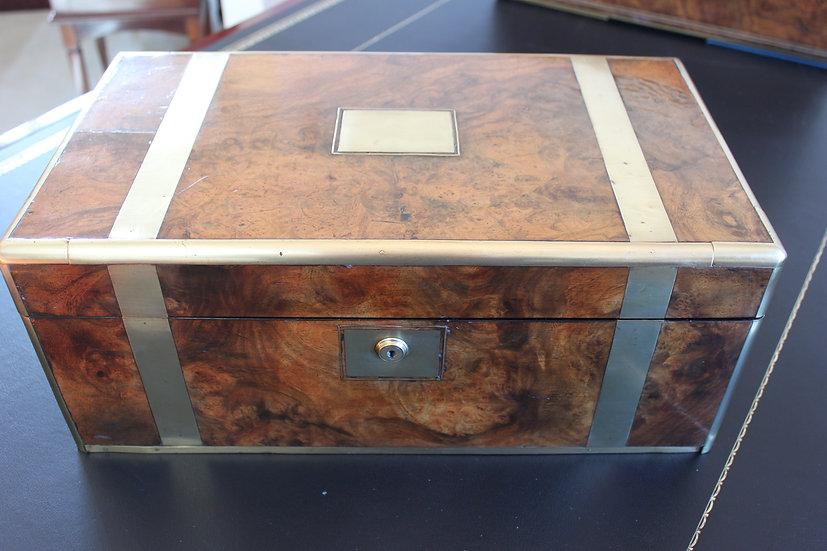Victorian burr walnut and brass bound writing slope