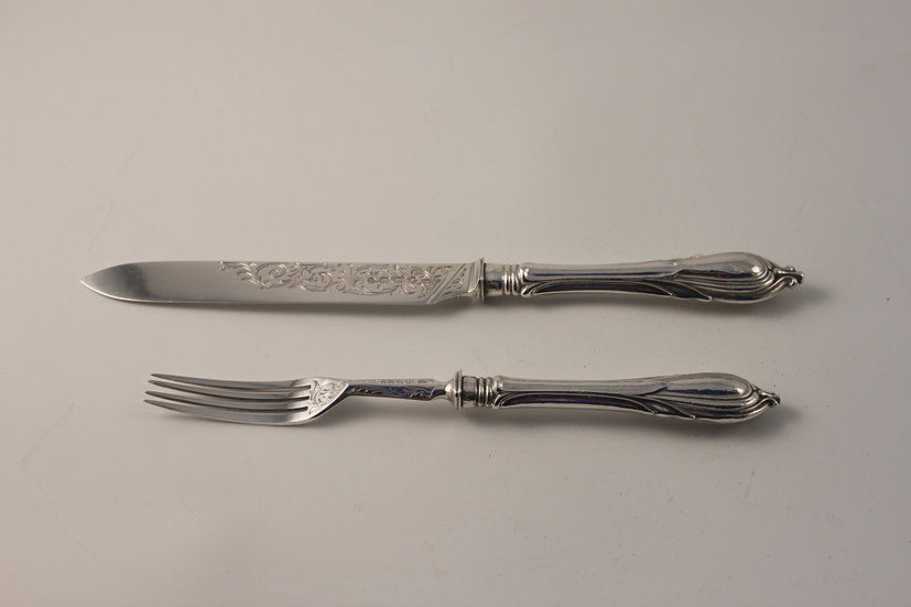 A Victorian hallmarked silver knife and fork