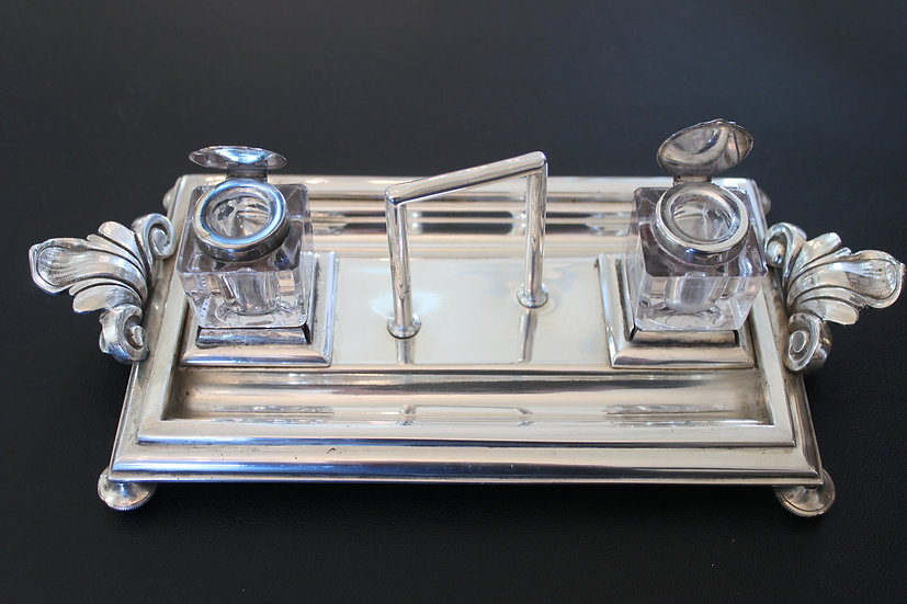 A 19th century silver plated ink standish