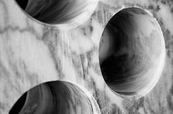 Carrara marble holes